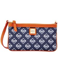 Dooney And Bourke Tampa Bay Rays Mlb Large Wristlet Navy