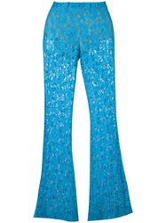 Moschino Flared Lace Trousers Blue