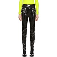 Unravel Black Latex Triple Zip Skinny Trousers