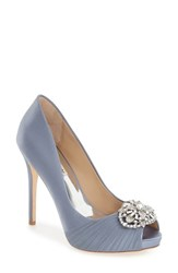 Badgley Mischka Women's 'Desi' Peep Toe Platform Pump Blue Haze Satin