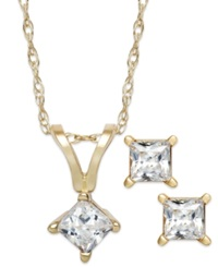 Macy's Princess Cut Diamond Pendant Necklace And Earrings Set In 10K Gold 1 10 Ct. T.W.