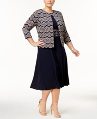 Jessica Howard Plus Size Jacket And Ruched Waist Midi Dress Navy Tan