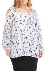 Michel Studio Plus Size Women's Release Pleat Cold Shoulder Blouse Snow