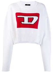 Diesel Cropped Pullover With 3D Intarsia White