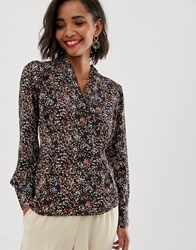 Y.A.S Floral Top With Button Detail Black