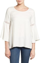 Pleione Women's Lace Inset Bell Sleeve Blouse White