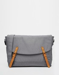 Asos Satchel In Grey Marl Nylon With Faux Leather Straps