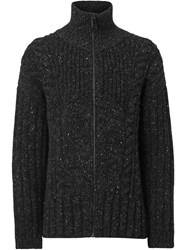 Burberry Cable Knit Cashmere Wool Mohair Zip Front Sweater Grey