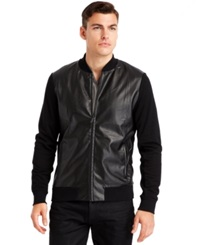 Kenneth Cole New York Faux Leather Baseball Jacket Black