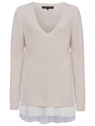 French Connection Taurus V Neck Jumper Classic Cream Winter White