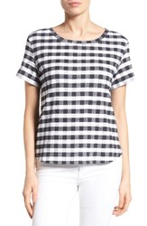 Caslonr Women's Caslon Print Crinkle Cotton Blend Top White Black Check Plaid