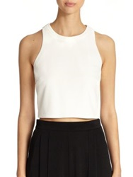 Abs By Allen Schwartz Crepe Crop Top Off White