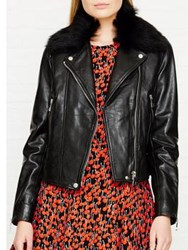 Whistles Faux Fur Collar Leather Jacket Black