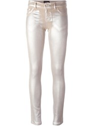 Emporio Armani Distressed Skinny Jeans Nude And Neutrals