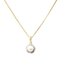 A B Davis 9Ct Gold Diamond Swirl Surround Pearl Pendant Necklace