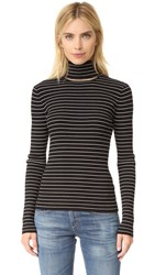 Tanya Taylor Stripe Rib Lia Sweater Black Shell