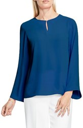 Vince Camuto Women's Bell Sleeve Keyhole Blouse Port Blue