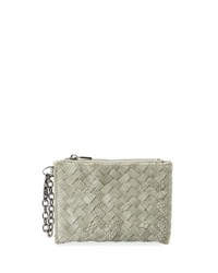 Neiman Marcus Woven Faux Leather Reptile Keychain Pouch Light Gray