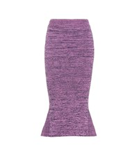 Stella Mccartney Knitted Cotton Midi Skirt Purple