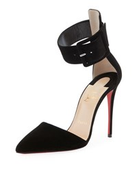 Christian Louboutin Harler Suede Ankle Strap Red Sole Pump Black