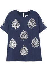 Iris And Ink Sacred Heart Embroidered Raw Silk Top Blue