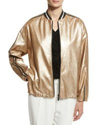 Brunello Cucinelli Metallic Leather Bomber Jacket Gold