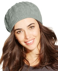 Charter Club Cashmere Cable Beret Heather Crystal