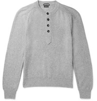 Tom Ford Cotton Cashmere And Cotton Blend Henley Sweater Gray