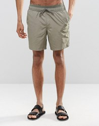 Asos Swim Shorts In Khaki With Double Waistband In Mid Length Green