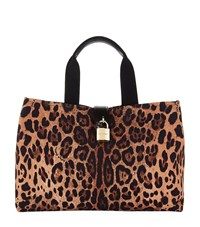 Dolce And Gabbana Leopard Print Canvas Tote Bag Female Brown