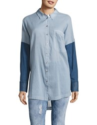Free People Patchwork Button Front Tunic Blue Combo