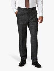 Jaeger Wool Mouline Check Regular Fit Suit Trousers Grey