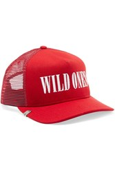 Amiri Wild Ones Embroidered Canvas And Mesh Baseball Cap One Size