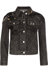 Marc Jacobs Cropped Embellished Appliqued Denim Jacket Black
