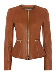 Hugo Boss Sakira Collarless Leather Jacket Tan