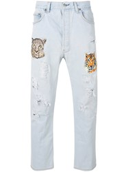 History Repeats Distressed Embroidered Jeans Blue