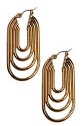 Trina Turk Oval Hoop Inner Rings Earrings Metallic