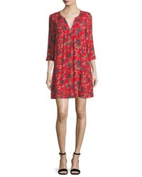 Ba And Sh Ever Floral Print Split Neck Shift Mini Dress Red
