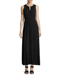 Neiman Marcus Sleeveless Keyhole Maxi Dress Black