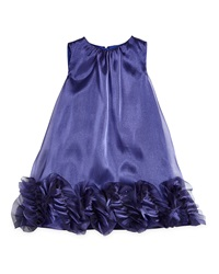 Milly Minis Shimmer Organza Trapeze Dress Midnight Size 4 7 Black
