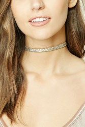 Forever 21 Faux Leather Glitter Choker Gold Multi