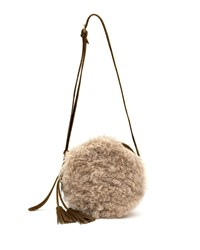 Il Bisonte Disco Circle Lamb Shearling And Leather Crossbody Bag Brown