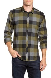 Jared Lang Check Sport Shirt Olive Green Check