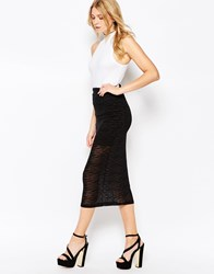Motel Bee Midi Skirt In Black Zebra Flocking