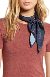 Treasure And Bond Print Short Tie Scarf Navy Dotted Flowers
