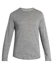 Vince Crew Neck Fine Knit Linen Top Grey