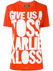 House Of Holland Slogan Print T Shirt Yellow And Orange
