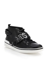 Moschino Double Logo Calfskin Mid Sneakers Black