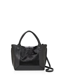 Botkier Perry Small Calf Hair And Leather Tote Black Silver