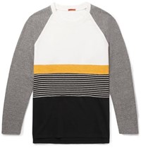 Barena Panelled Cotton Jersey Brushed Twill And Striped Virgin Wool Blend Sweatshirt Gray